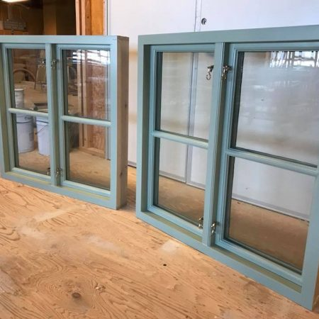 Newly restored windows with green frame